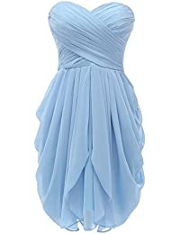 Womens Bridesmaid Dresses Short Strapless Chiffon Sweetheart Prom Gowns