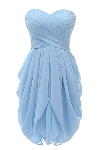 Kiss Dress Short Strapless Prom Dress Soft Chiffon Evening Dress M Blue