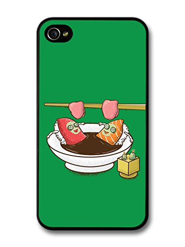 Sushi Relaxing in Sauna Soya Soup Funny Illustration coque pour iPhone 4 4S