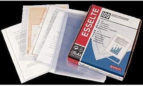 ESSELTE 46101 - Fundas portadocumentos COPYSAFE PP Cristal sin refuerzo 120 micras (caja 100 ud.) Folio. 16 taladros: Amazon.es: Oficina y papelería