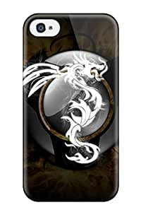 New Premium Flip Case Cover Stencil Fantasy Skin Case For Iphone 4/4s Sending Free Screen Protector
