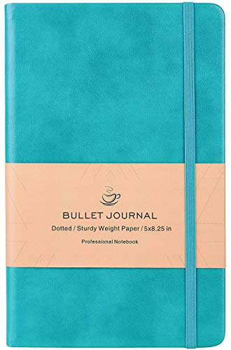 Bullet Journal - Dot Grid Hard Cover Notebook, Premium Thick Paper with Fine Inner Pocket, Mint Smooth Faux Leather, 5''×8.25''