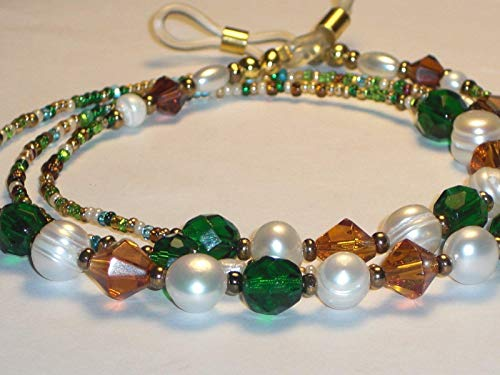 - Beaded Eyeglass Chain Amber and Deep Green with Chinese Freshwater Pearls 28 inches