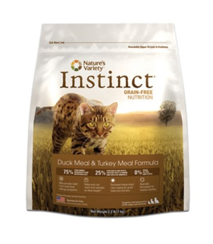Instinct Grain-Free Duck Meal and Turkey Meal Dry Cat Food by Nature's Variety, 2.2-Pound Package, My Pet Supplies