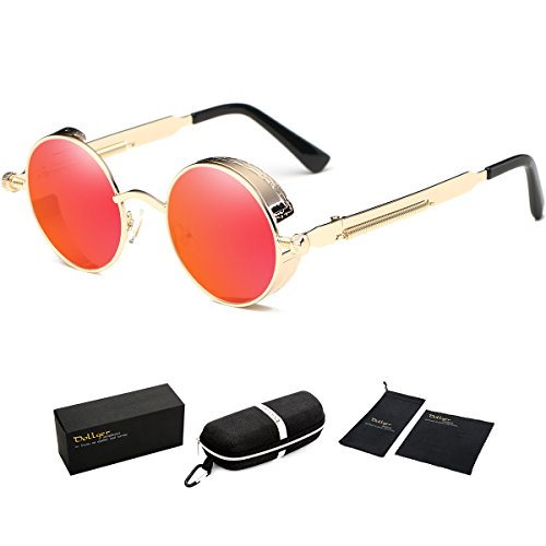 Dollger Vintage Steampunk Men Small Round Sunglasses Red Lens Gold Frame Mirrored - Designer Vintage Glasses
