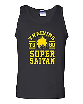 Training To Go Super Saiyan Anime Funny Parody DT Adult Tank Top