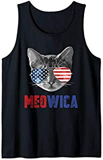 Funny Cat  4th of July Meowica Merica USA American Flag Tank Top T-shirt | Size S - 5XL