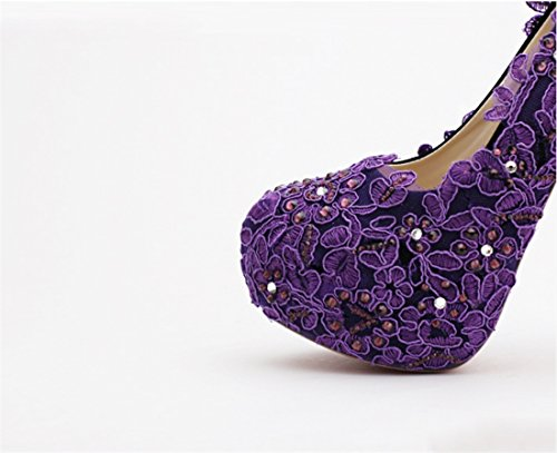 Miyoopark Damen Heel Plateau Purple 14cm wngZqBwO
