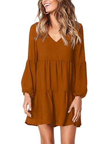 Amoretu Women Long Sleeve Tunic Dress V Neck Swing Shift Dresses(Brown,XX-Large)