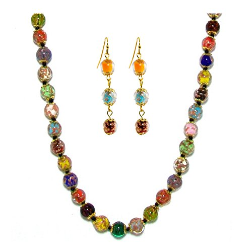 Just Give Me Jewels Genuine Venice Murano Sommerso Aventurina Glass Bead Long Strand Necklace and Earrings Set, Multi-Color