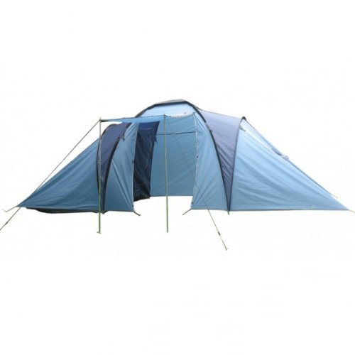 Campingzelt TANGRA Zelt 6 Personen blau Kuppelzelt Schlafkabinen Zelt Polyester Urlaub NEU