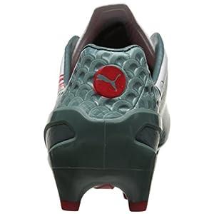 PUMA Men's Evo Speed 1.3 Graphic FG Soccer Shoe, White/Sea Pine/High Risk Red, 7.5 M US