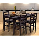 Dinette Sets For Small Spaces-Dinning Room Table Set-Five Piece Dark Espresso Wood