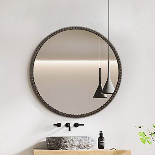 Hans&Alice Round Antique Mirror, Distressed Metal Frame Mirror for Bathroom, Bedroom and Living Room Decoration, Commercial Grade 90+ (24''D)