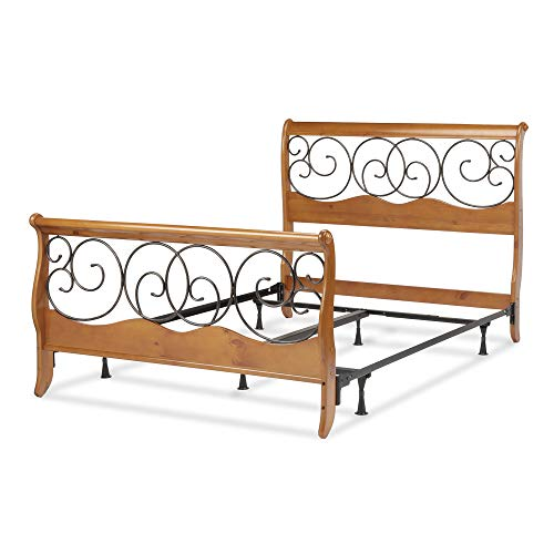 Leggett & Platt Dunhill Complete Wood Bed and Steel Support Frame with Sleigh Style Panels and Metal Autumn Brown Swirling Scrolls, Honey Oak Finish, King ()