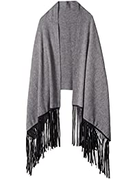 Women's Cashmere Blend Wrap with Long Fringe