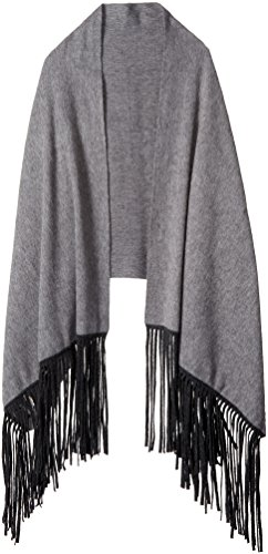 La Fiorentina Women's Cashmere Blend Wrap with Long Fringe, Grey, One Size by La Fiorentina