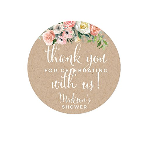 Andaz Press Peach Coral Kraft Brown Rustic Floral Garden Party Wedding Collection, Personalized Round Circle Label Stickers, Thank You for Celebrating With Us, 40-Pack, Custom Name