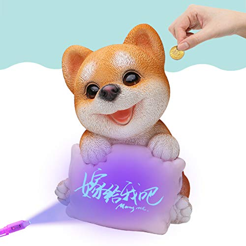 (GE&YOBBY Cartoon Piggy Bank,Creative Dog Money Box with Invisibility Fluorescent Pillow and Pen for Love Confession Secret Best Gift-a 17x17x25cm(7x7x10inch))