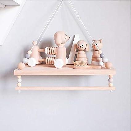Natural Pine Tassel Beaded Floating Wall Hanging Shelf Book Bedroom Display Rack