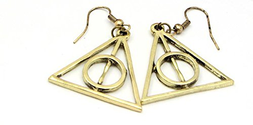 Outlander Harry Potter Gold Deadly Hallows Logo Earring Dangles In Gift Box From
