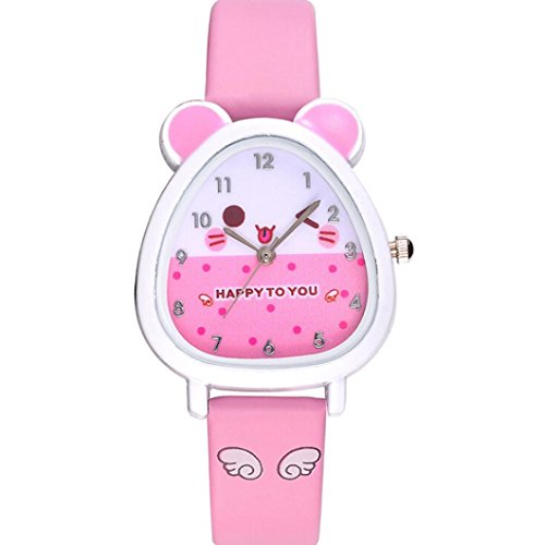 Gbell Kids Lovely Animal Quartz Wrist Watch with Leather Band - Girls Watch Birthday Gift Souvenir- Sky Blue,White,Red,Purple,Black,Pink,Hot Pink (Pink) ()
