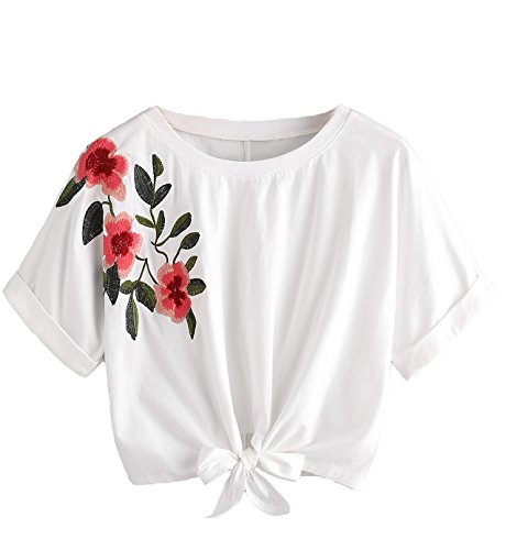 SweatyRocks Women's Print Crop T-Shirt Top Short Sleeve Tie Front Lace Up Shirt (Large, 2White)