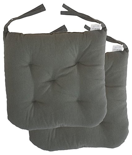 "Cottone 100% Cotton Chair Pads w/ Ties (Set of 2) | 16"" x 15"" Round Square 
