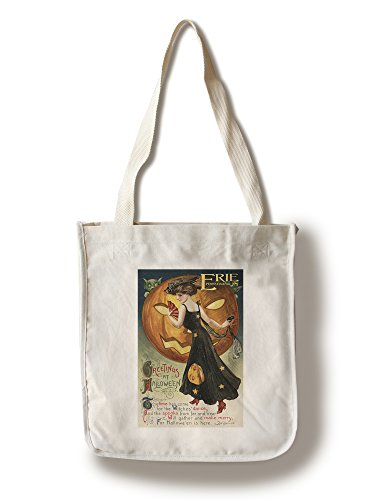 Erie, Pennsylvania - Halloween Greeting - Witch Dancing and Pumpkin - Vintage Artwork (100% Cotton Tote Bag - Reusable) ()