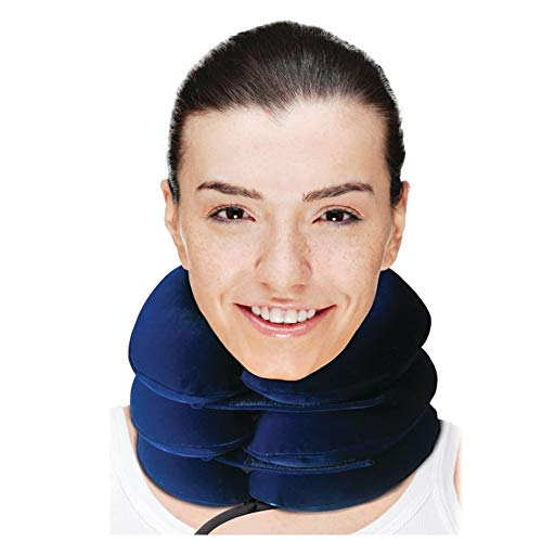 Comfortable Cervical Neck Traction Device - Inflatable & Adjustable Collar Brace - Chronic & Acute Pain Relief at Home Therapy - Neck Stretcher for Men & Women Clinical Cervical Traction Device