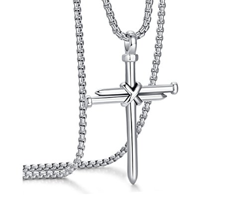 - ADoor Men's Stainless Steel Nail Cross Pendant Necklace With 24 Inch Chain for Men Silver