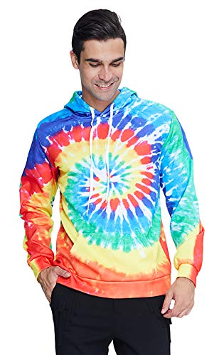 Womens Tie Dye Pullover Hoodies Colorful 3D Sweatshirt Causal Lightweight Long Sleeve Pull On Hoody White Jumper Outwear for Outdoor Hiking Trip