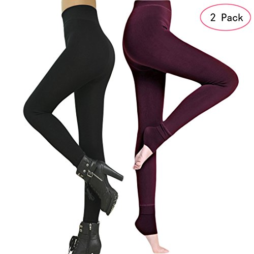 Romastory Winter Warm Women Velvet Elastic Leggings Pants Fleece Lined Thick Tights (Black+Wine Pack) -
