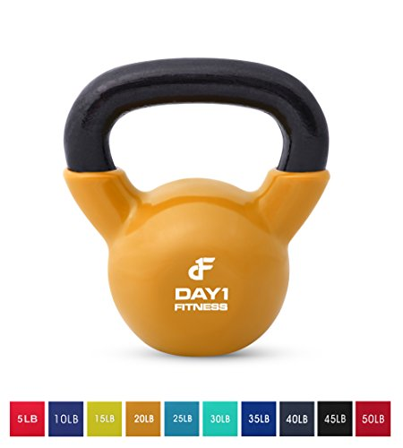 Day 1 Fitness Kettlebell Weights Vinyl Coated Iron 20 Pounds - Coated for Floor and Equipment Protection, Noise Reduction - Free Weights for Ballistic, Core, Weight Training