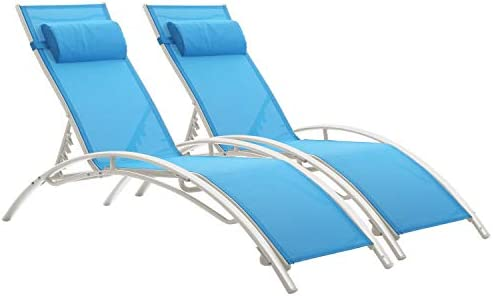 Set of 2 Outdoor Patio Chaise Lounge Chairs,Beach Pool Reclining Adjustable Lounge Chair