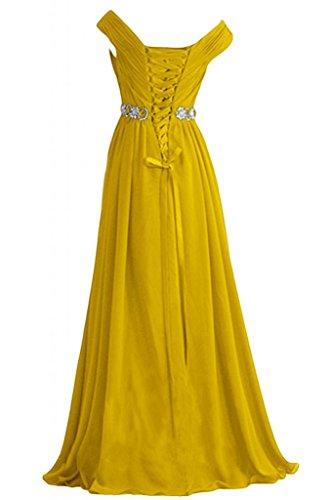 eleganti A Sweep abito da di Poretrait Sunvary sera Line Neckline Yellow formale V ballo TgUdgnxa