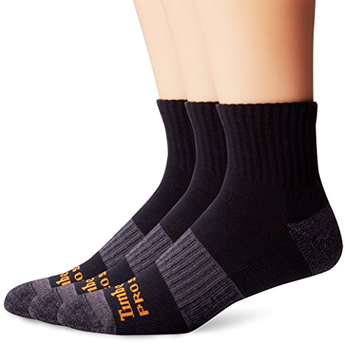Timberland Pro Men's 3 Pack Reinforced Heel Toe Work Quarter Sock, Black, Sock Size:10-13/Shoe Size: (Reinforced Heel)