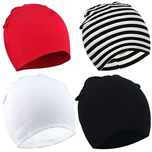 DRESHOW BQUBO 4 Pieces Baby Beanie Newborn Toddler Soft Cute Knit Hat Hospital Hats for Baby Boys Infant Cap Beanies (4 Pack: Strip, Black, red, White, 3-24)