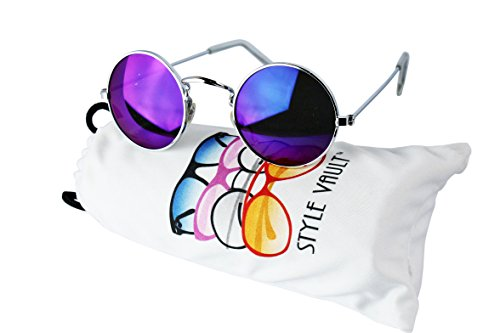 V106-vp Tiny Small Lens Round Metal Sunglasses (6001ACM Silver-purplish blue mirror, - Sunglasses Kpop