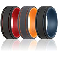 ROQ Silicone Wedding Ring for Men - Duo Collection - 3 Packs & Singles Silicone Rubber Wedding Bands - Classic Style