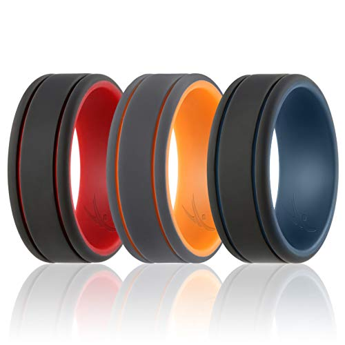 Ring for Men - Duo Collection Lines Style - 3 Pack Silicone Rubber Wedding Bands - Classic Design - Blue-Black, Orange-Grey, Red-Black Colors - Size 11 ()