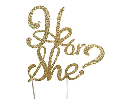 CMS Design Studio Handmade Gender Reveal Cake Topper Decoration - He or She - Made in USA with Double Sided Glitter Stock (Gold)