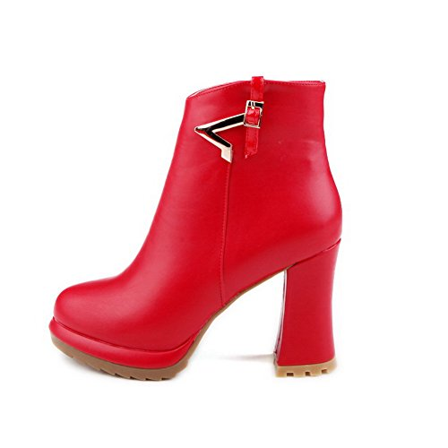 AllhqFashion Womens Zipper High Heels Pu Solid Low Top Boots with Metal Piece Red NLDhWwy