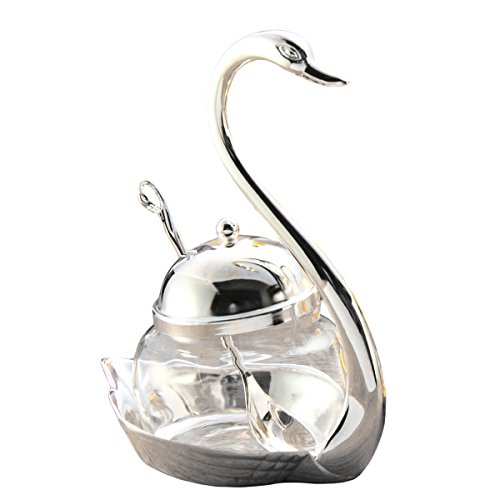 (Tea Talent Condiment Pot Seasoning Container Spice Glass Jar Salt Sugar Bowl Pepper Coffee Storage Organizer Swan Rack with Serving Spoon,Silver)