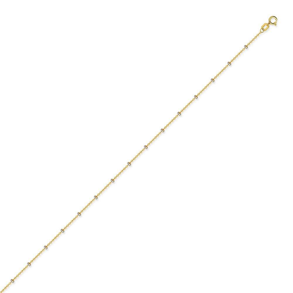 14 K Amarillo y Oro Blanco Collar de cadena de Cable con cierre de cuentas anillo elástico – opciones de longitud: 41 46 51 61