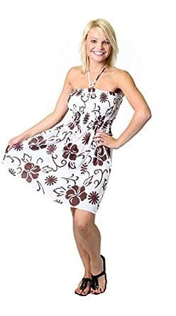 Alki'i Women's One-size-fits-all Ruffled Tube Dress/Coverup - Brown Hibiscus