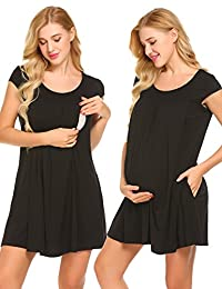 Ekouaer Maternity Nursing Gowns for Hospital Short Sleeves Delivery Nightgowns