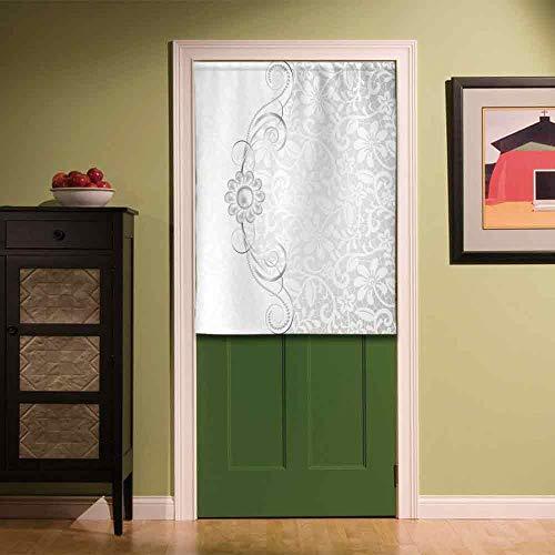 YOLIYANA Silver Stylish Door Curtain,Lace Inspired Flourish Motifs Background with Bridal Flower Border Wedding Theme for Bar Home Office Décor,33.46''W x 47.24''H