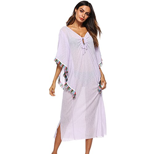 Baijiaye Mujer Collar V Profundo Tiras Borla Suelto Media Manga Batas para Playa Kaftan Niña Playa Bikini Cover-Up Blanco: Amazon.es: Ropa y accesorios