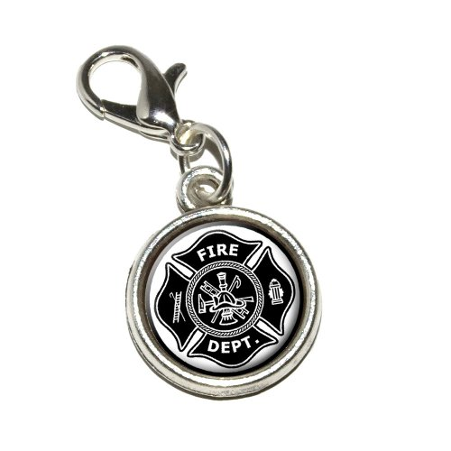 Graphics and More Firefighter Firemen Maltese Cross Black Antiqued Bracelet Pendant Zipper Pull Charm with Lobster Clasp ()
